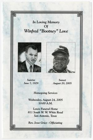 [Funeral Program for Winfred Love, August 24, 2005]