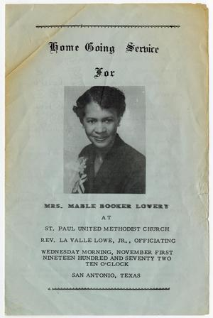 Primary view of object titled '[Funeral Program for Mable Booker Lowery, November 1, 1972]'.