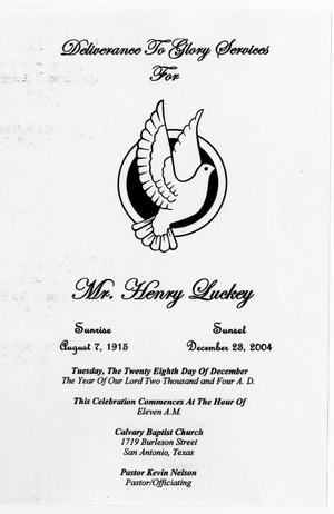 Primary view of object titled '[Funeral Program for Henry Luckey, December 28, 2004]'.