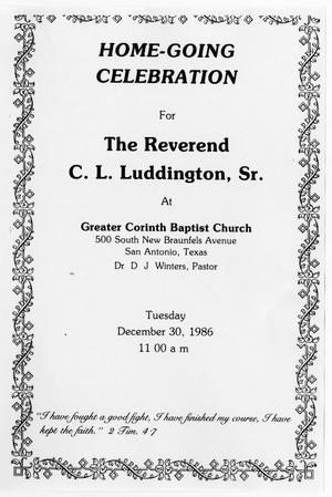 Primary view of object titled '[Funeral Program for C. L. Luddington, Sr., December 30, 1986]'.