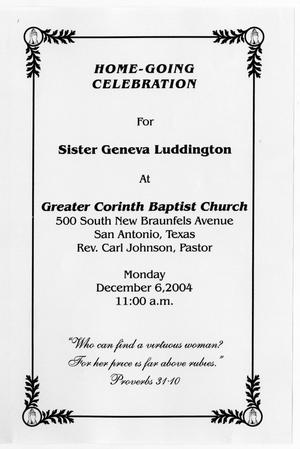 Primary view of object titled '[Funeral Program for Geneva Luddington, December 6, 2004]'.
