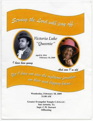 [Funeral Program for Victoria Luke,February 18, 2009]
