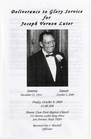 [Funeral Program for Joseph Vernon Luter, October 9, 2009]
