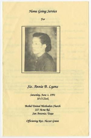 [Funeral Program for Annie B. Lyons, June 1, 1991]