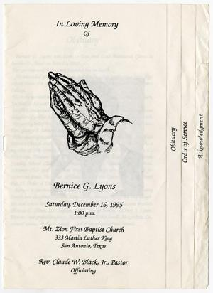 Primary view of object titled '[Funeral Program for Bernice G. Lyons, December 16, 1995]'.