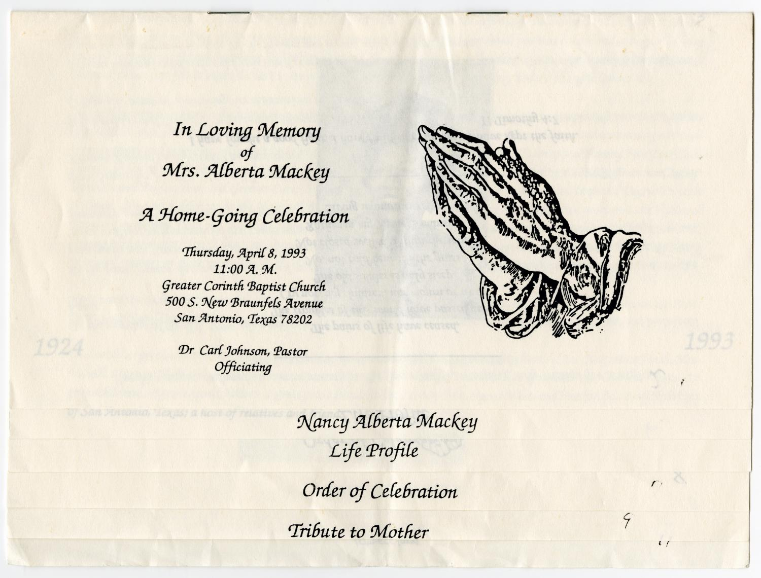 [Funeral Program for Alberta Mackey, April 8, 1993]                                                                                                      [Sequence #]: 1 of 7