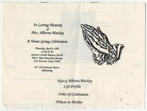 Primary view of object titled '[Funeral Program for Alberta Mackey, April 8, 1993]'.