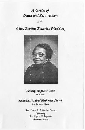 Primary view of object titled '[Funeral Program for Bertha Beatrice Maddox, August 3, 1993]'.