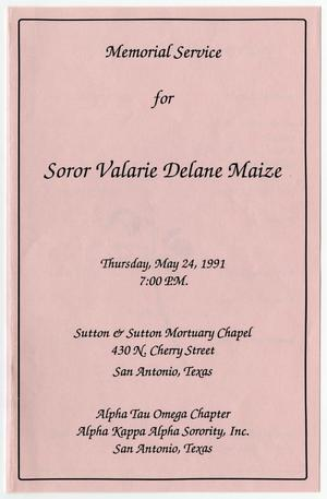 Primary view of object titled '[Memorial Program for Valarie Delane Maize, May 24, 1991]'.