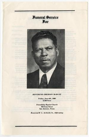[Funeral Program for Emerson Marcee, June 6, 1980]