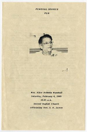 Primary view of object titled '[Funeral Program for Alice Roberts Marshall, February 4, 1989]'.