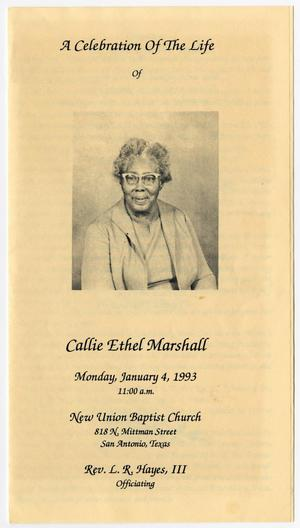 Primary view of object titled '[Funeral Program for Callie Ethel Marshall, January 4, 1993]'.