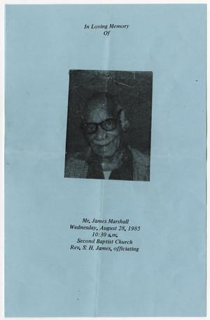 Primary view of object titled '[Funeral Program for James Marshall, August 28, 1985]'.