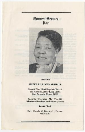 Primary view of object titled '[Funeral Program for Lillian Marshall, May 12, 1979]'.
