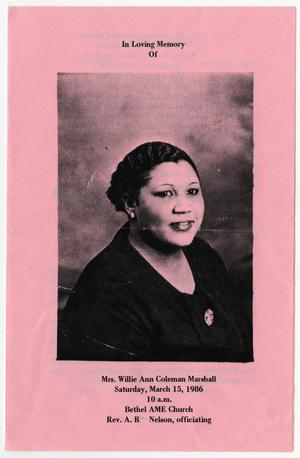 [Funeral Program for Willie Ann Coleman Marshall, March 15, 1986]