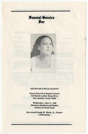Primary view of object titled '[Funeral Program for Beatrice Martin, June 11, 1980]'.