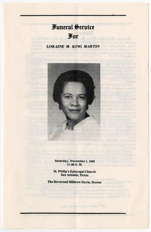 Primary view of object titled '[Funeral Program for Loraine M. King Martin, November 1, 1980]'.