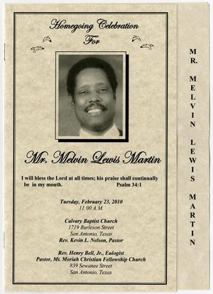 Primary view of object titled '[Funeral Program for Melvin Lewis Martin, February 23, 2010]'.