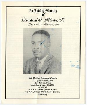 Primary view of object titled '[Funeral Program for Rowland I. Martin, Sr., October 23, 1999]'.