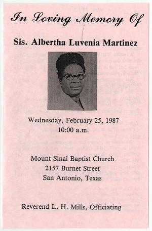 Primary view of object titled '[Funeral Program for Albertha Luvenia Martinez, February 25, 1987]'.