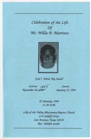 Primary view of object titled '[Funeral Program for Willie B. Martinez, January 20, 1994]'.