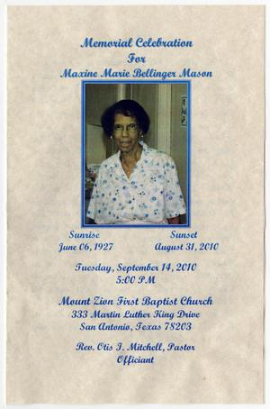 Primary view of object titled '[Funeral Program for Maxine Marie Bellinger Mason, September 14, 2010]'.