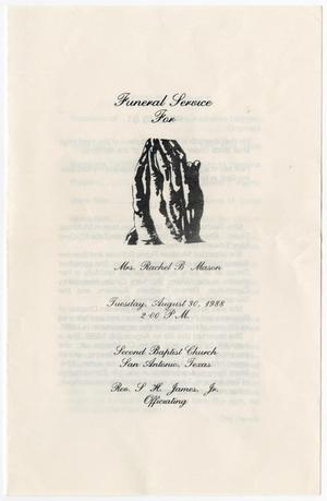 Primary view of object titled '[Funeral Program for Rachel B. Mason, August 30, 1988]'.