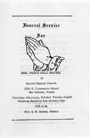 Primary view of object titled '[Funeral Program for Peggy Dell Mathis, October 28, 1971]'.