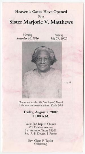 Primary view of object titled '[Funeral Program for Marjorie V. Matthews, August 2, 2002]'.