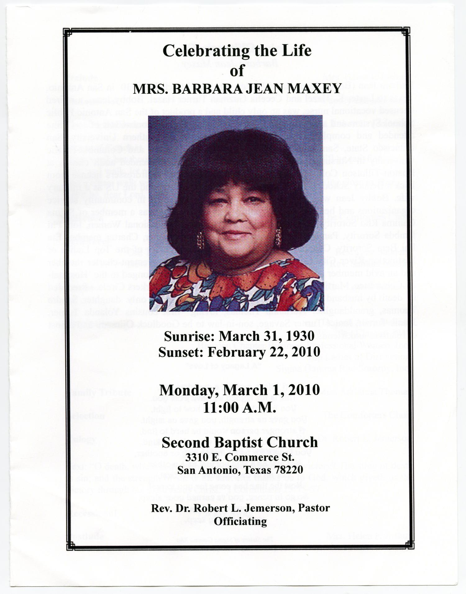 [Funeral Program for Barbara Jean Maxey, March 1, 2010]                                                                                                      [Sequence #]: 1 of 4