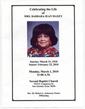 Primary view of object titled '[Funeral Program for Barbara Jean Maxey, March 1, 2010]'.