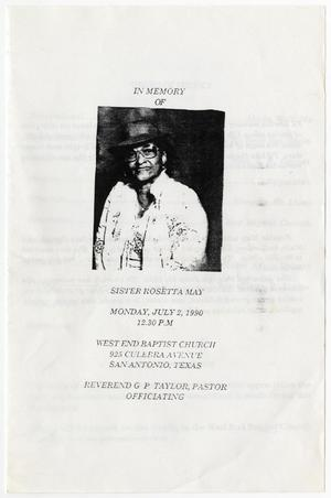 Primary view of object titled '[Funeral Program for Rosetta May, July 2, 1990]'.