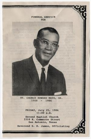 Primary view of object titled '[Funeral Program for George Edward Mays, Sr., July 25, 1986]'.