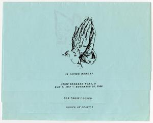 Primary view of object titled '[Funeral Program for Jesse Bernard Mays, II, November 23, 1988]'.