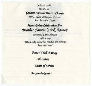 Primary view of object titled '[Funeral Program for Forrest Rainey, July 14, 1993]'.