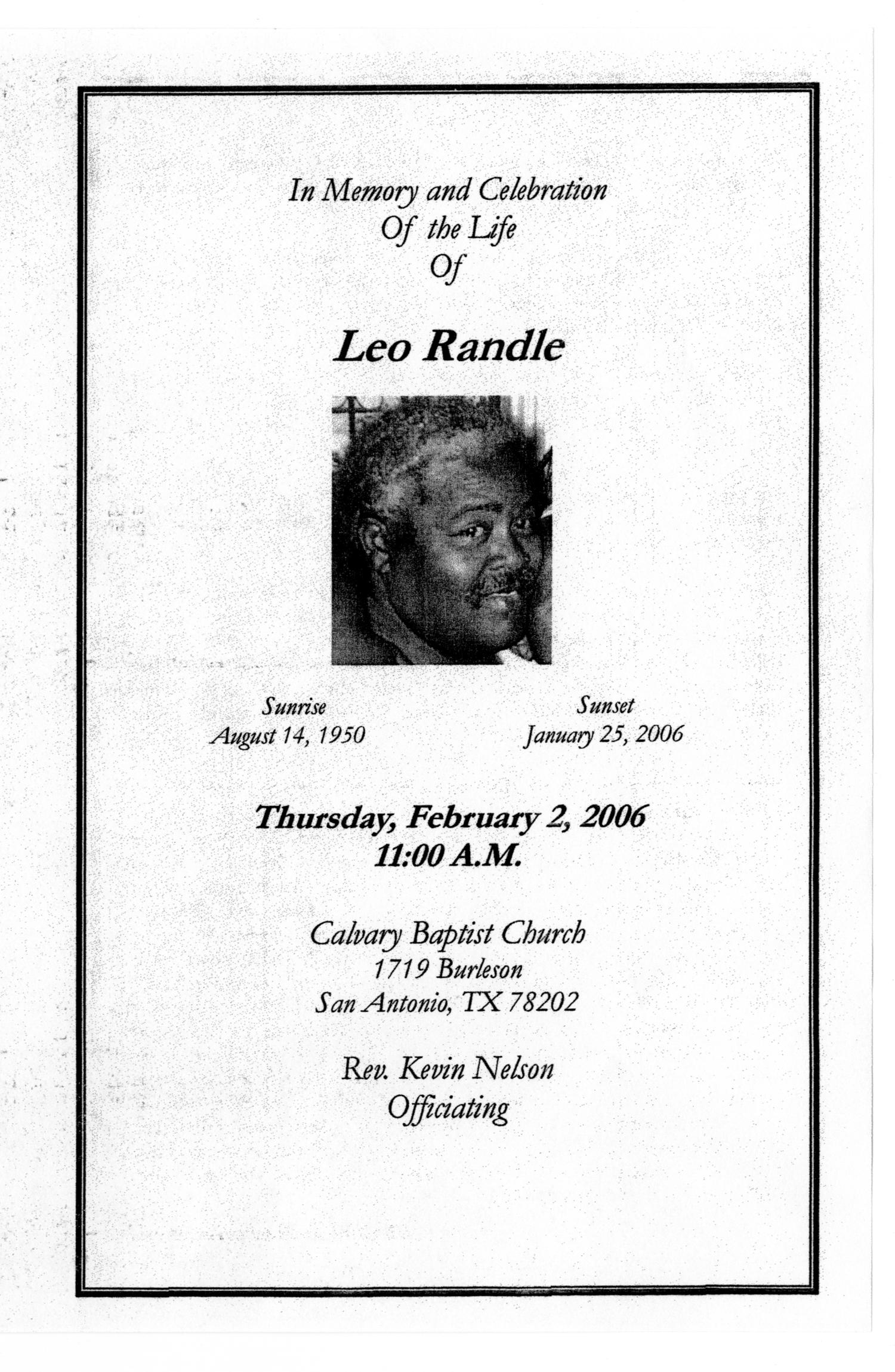 [Funeral Program for Leo Randle, February 2, 2006]                                                                                                      [Sequence #]: 1 of 3