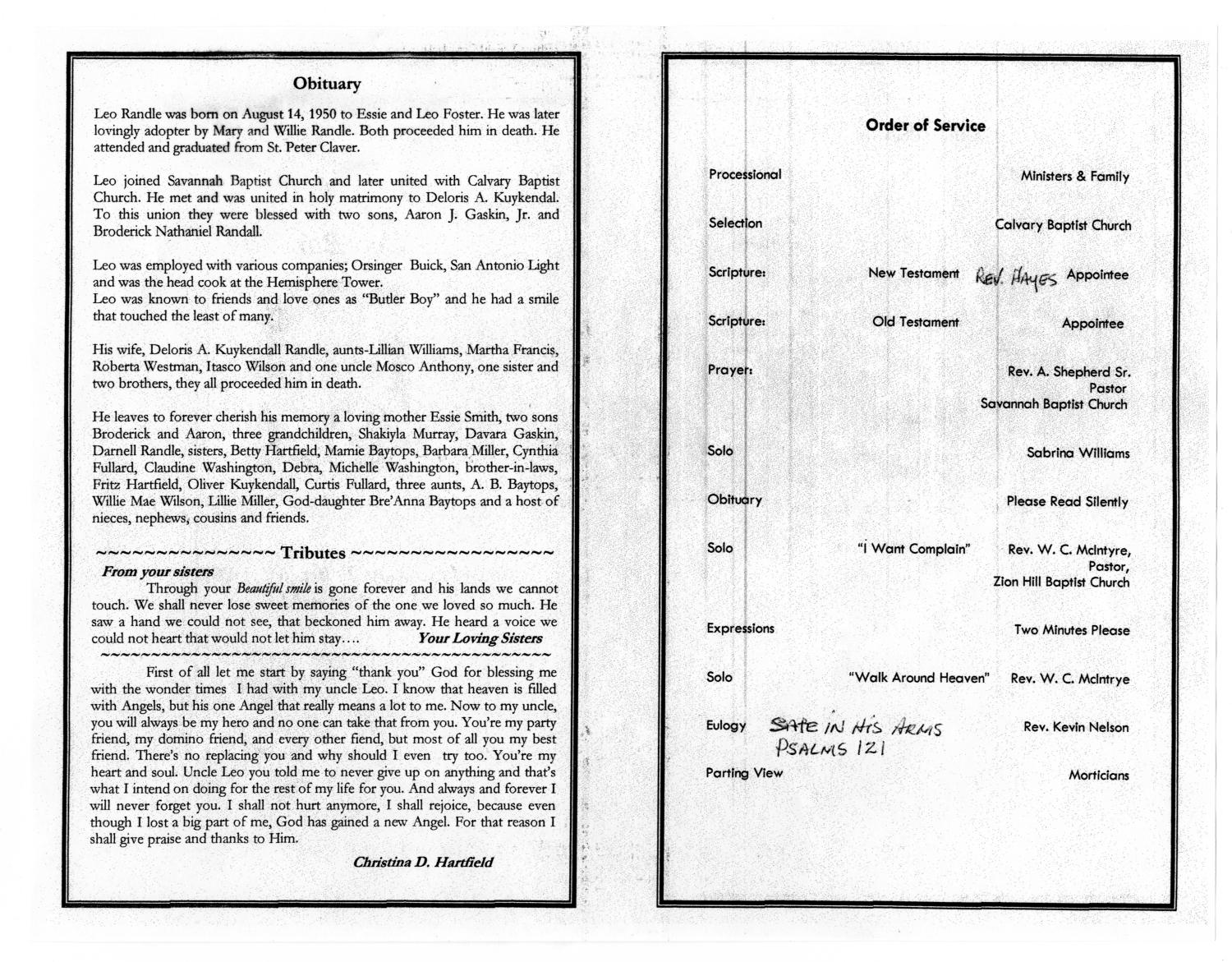 [Funeral Program for Leo Randle, February 2, 2006]                                                                                                      [Sequence #]: 2 of 3