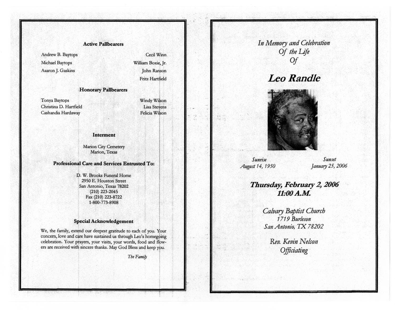 funeral program for leo randle  february 2  2006