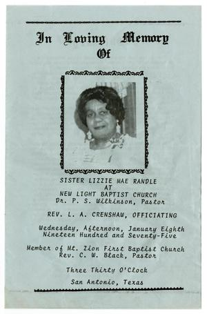 [Funeral Program for Lizzie Mae Randle, January 8, 1975]