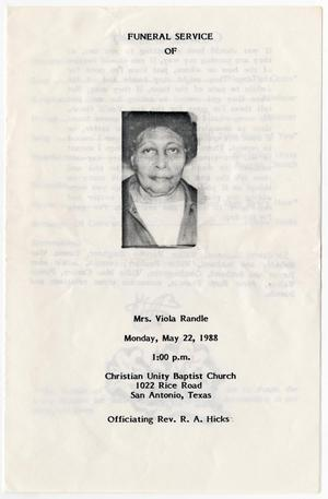 Primary view of object titled '[Funeral Program for Viola Randle, May 22, 1988]'.