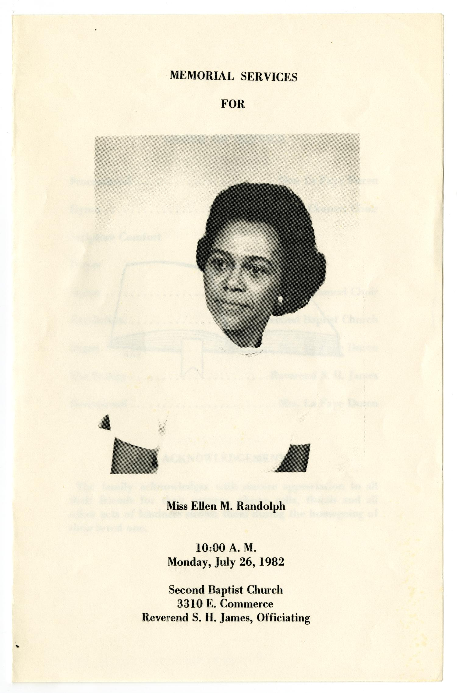[Funeral Program for Ellen M. Randolph, July 26, 1982]                                                                                                      [Sequence #]: 1 of 3