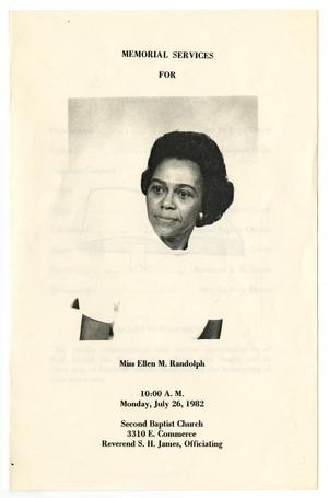 [Funeral Program for Ellen M. Randolph, July 26, 1982]