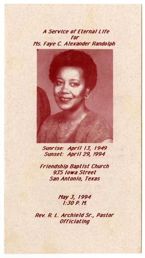 [Funeral Program for Faye C. Alexander Randolph, May 3, 1994]