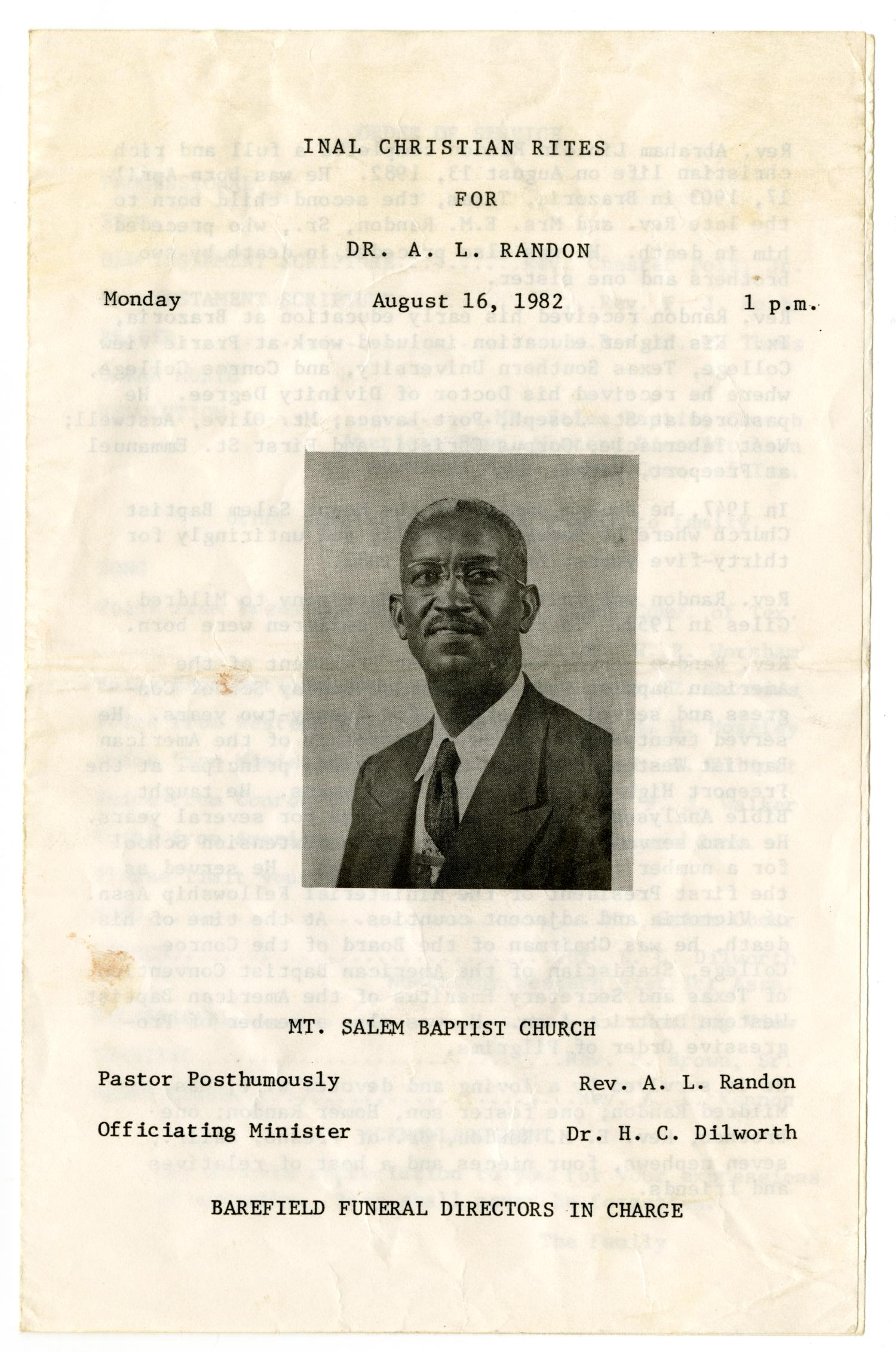 [Funeral Program for A. L. Randon, August 16, 1982]                                                                                                      [Sequence #]: 1 of 3