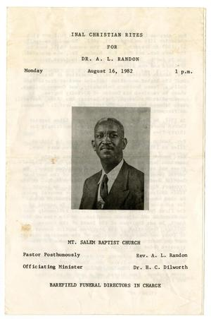 Primary view of object titled '[Funeral Program for A. L. Randon, August 16, 1982]'.