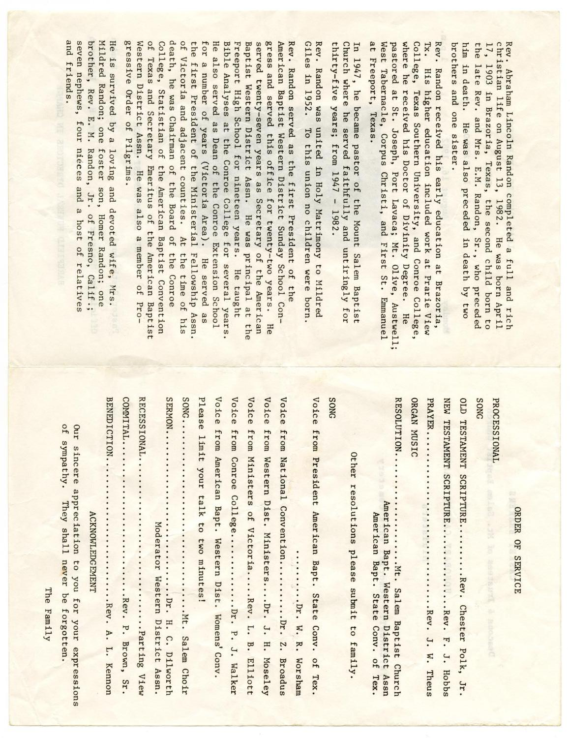 [Funeral Program for A. L. Randon, August 16, 1982]                                                                                                      [Sequence #]: 2 of 3