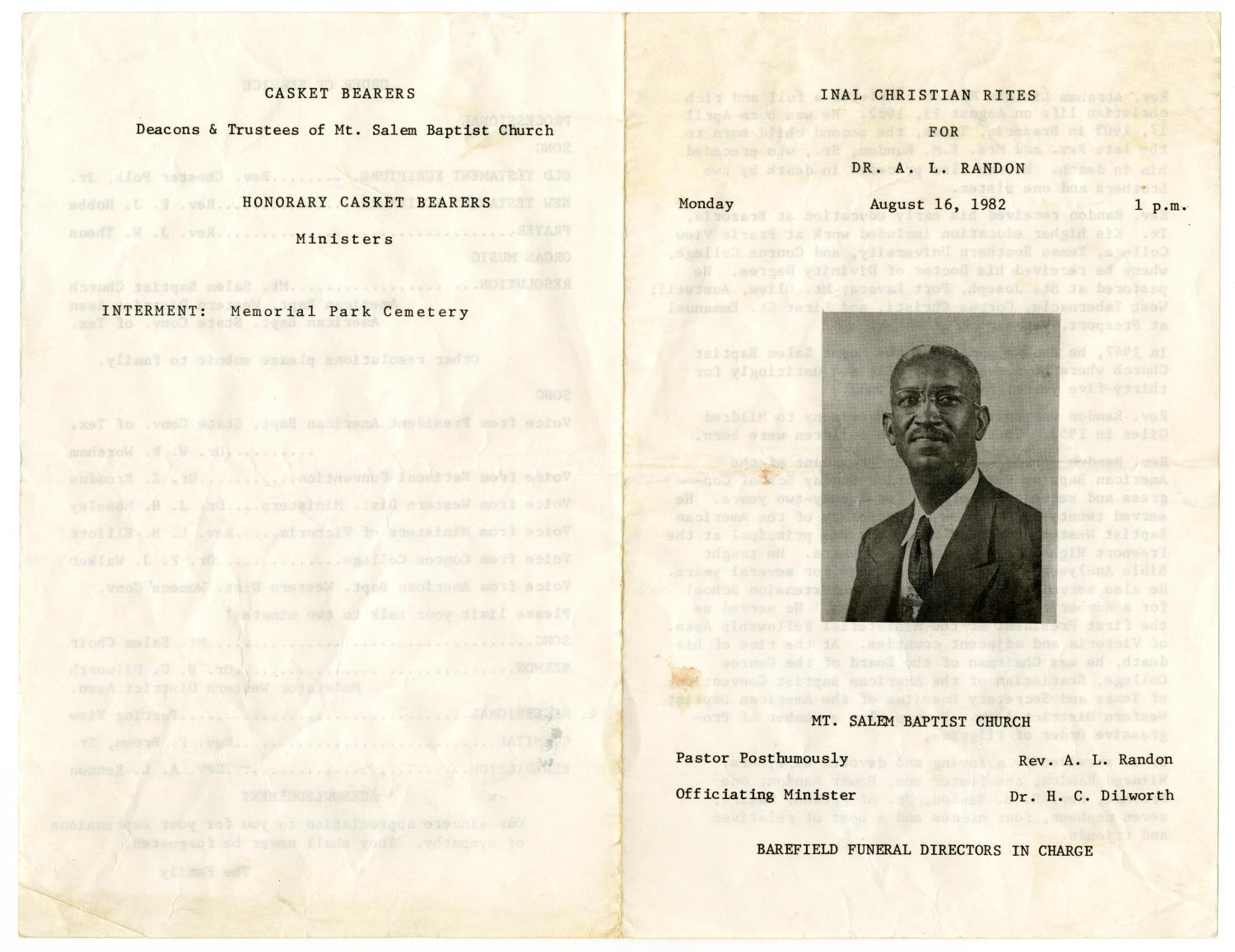 [Funeral Program for A. L. Randon, August 16, 1982]                                                                                                      [Sequence #]: 3 of 3