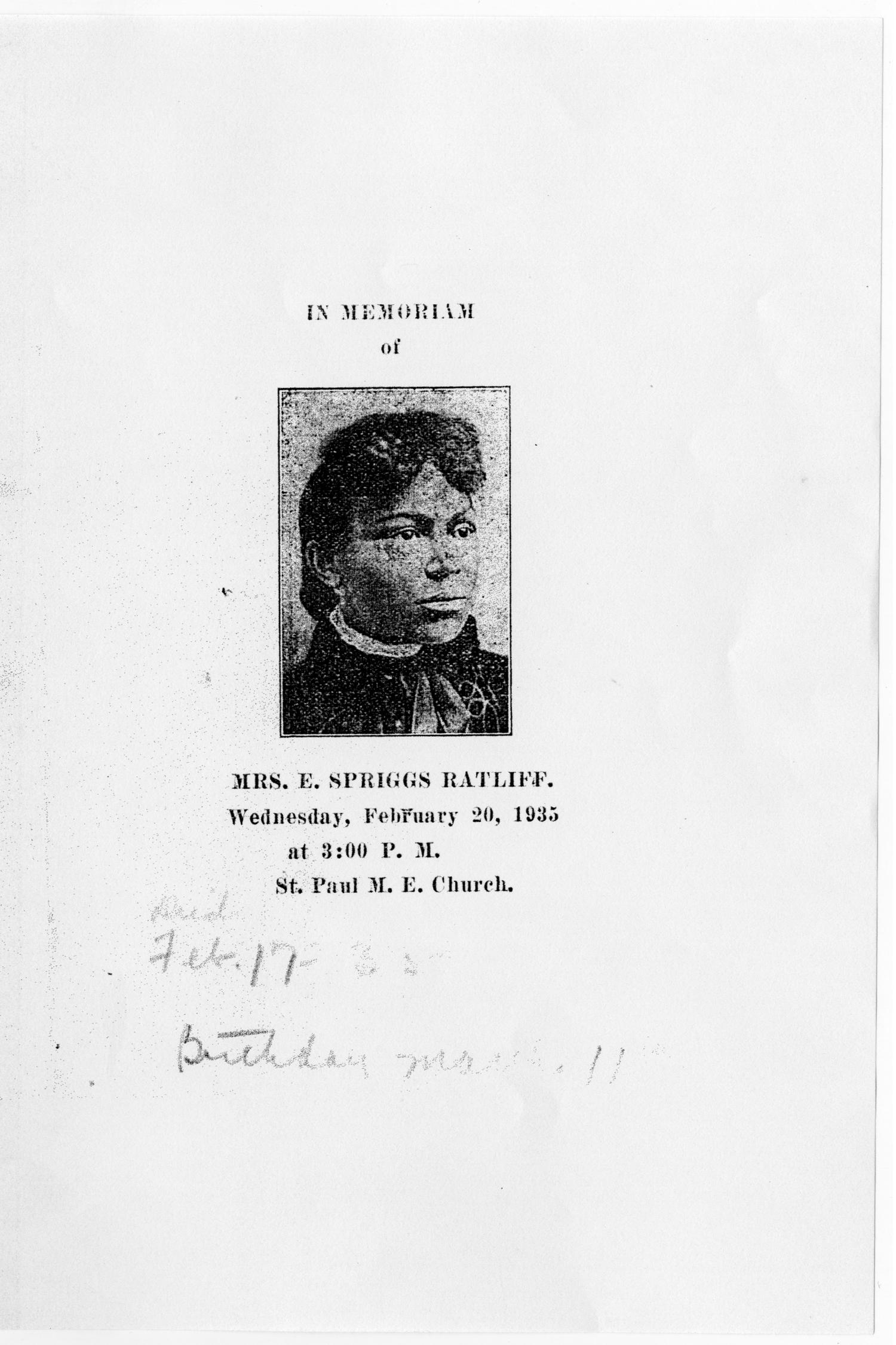 [Funeral Program for E. Spriggs Ratliff, February 20, 1935]                                                                                                      [Sequence #]: 1 of 3