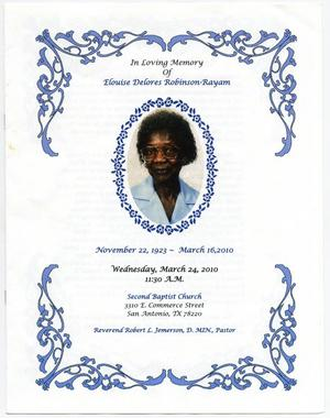 [Funeral Program for Elouise Delores Robinson-Rayam, March 24, 2010]