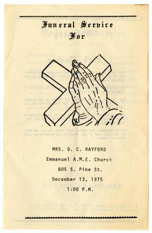 Primary view of object titled '[Funeral Program for D. C. Rayford, December 13, 1975]'.